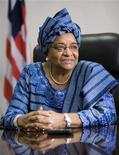 Liberian President Ellen Johnson Sirleaf speaks during an interview with Reuters in Monrovia, November 8, 2007, after returning from a trip to the U.S. REUTERS/Christopher Herwig