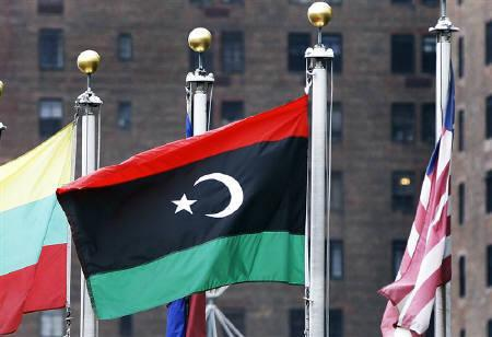 The new flag of Libya waves in the wind at the United Nations in New York September 20, 2011. REUTERS/Shannon Stapleton