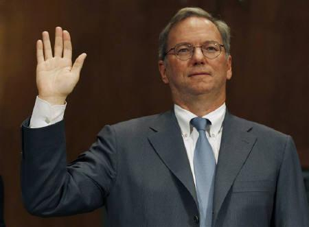 Executive Chairman of Google Eric Schmidt is sworn in before a Senate Judiciary Subcommittee hearing called ''The Power of Google: Serving Consumers or Threatening Competition?'' on Capitol Hill, September 21, 2011. REUTERS/Larry Downing