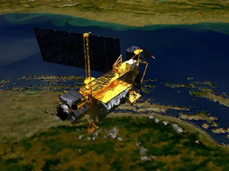 NASA conceptual image shows the Upper Atmosphere Research Satellite (UARS), launched on September 15, 1991, by the space shuttle Discovery. The six-ton NASA science satellite plunged to earth early on Saturday, but where any debris ended up was not immediately clear. REUTERS/NASA/Handout