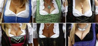 Комбинированная фотография посетительниц Октоберфеста в Мюнхене, 23 сентября 2011 года.    Не все участники Октоберфеста знают, что, на самом деле, приезжая каждый год в Мюнхен в октябре, они пьют пиво и уплетают немецкие колбаски в честь бракосочетания наследного принца Баварии, состоявшегося в XIX веке.   REUTERS/Michael Dalder