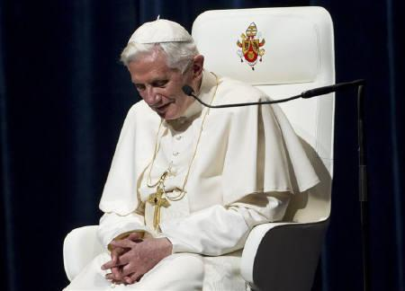 Pope Benedict XVI listens to music being played during a meeting with Catholics involved in the Church and society, at the concert hall in Freiburg September 25, 2011. REUTERS/Miro Kuzmanovic
