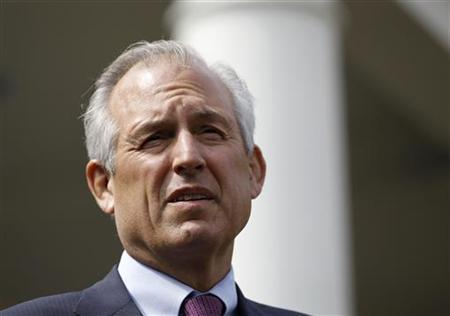 Jim McNerney, President and CEO of Boeing, is pictured outside the West Wing of the White House in Washington September 16, 2010. REUTERS/Jason Reed