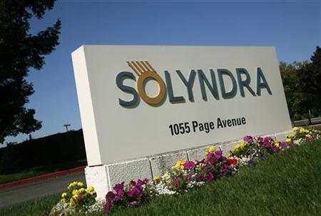 A sign at the entrance to the headquarters of bankrupt Solyndra LLC is shown in Fremont, California September 20, 2011. REUTERS/Robert Galbraith