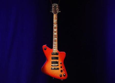 The 'Gibson Firebird X' guitar made by U.S. guitar maker Gibson is seen during a press conference in New York, October 28, 2010. TREUTERS/Shannon Stapleton