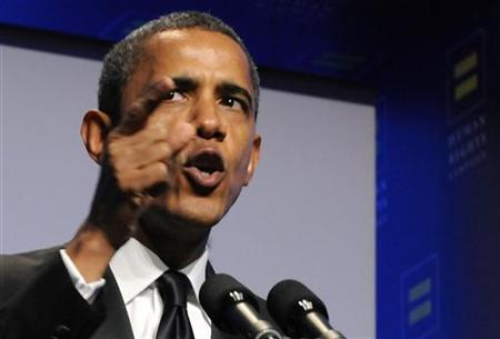 U.S. President Barack Obama speaks at the Human Rights Campaign's annual dinner in Washington, October 1, 2011. REUTERS/Jonathan Ernst