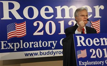 Former Louisiana governor Charles ''Buddy'' Roemer speaks at a news conference announcing he is forming a presidential exploratory committee for the 2012 Republican nomination in Baton Rouge, Louisiana March 3, 2011. REUTERS/Lee Celano