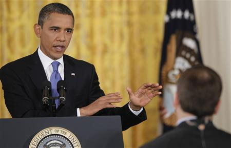 President Barack Obama answers a question during a news conference at the White House, October 6, 2011. REUTERS/Jason Reed