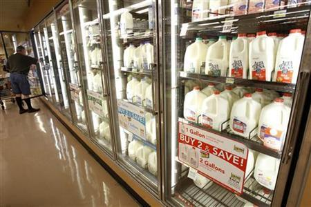 The milk section of a grocery store in Los Angeles, April 7, 2011. REUTERS/Mario Anzuoni