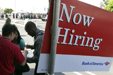 A man applies for a job at the Bank of America booth at the Congressional Black Caucus For The People Jobs Initiative job fair in Los Angeles, California August 31, 2011. REUTERS/Jonathan Alcorn/Files