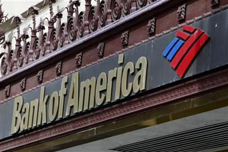 The sign of a Bank of America branch is pictured in downtown Los Angeles October 8, 2010. REUTERS/Fred Prouser