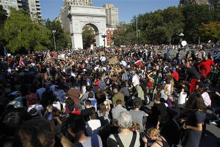 Protesters fill Washington Square during an ''Occupy Wall Street'' rally in New York October 8, 2011. New York Mayor Michael Bloomberg accused anti-Wall Street protesters on Friday of trying to destroy jobs in the city, even as he said he was sympathetic to some of their complaints. REUTERS/Jessica Rinaldi
