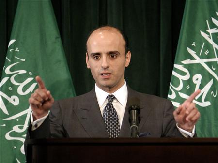 Then Saudi Arabian Foreign Policy Advisor Adel-Al-Jubeir gestures during a news conference in response to U.S. engineer Paul Marshal Johnson's beheading at the Saudi Arabian Embassy in Washington, in this June 18, 2004 file photo.  REUTERS/Shaun Heasley/Files
