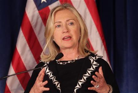 Secretary of State Hillary Clinton speaks during a joint news conference at the Australia-United States Ministerial Consultations at The Presidio San Francisco, California September 15, 2011.  REUTERS/Robert Galbraith
