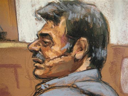 Manssor Arbabsiar is shown in this courtroom sketch during an appearance in a Manhattan courtroom  in New York, October 11, 2011.   REUTERS/Jane Rosenberg