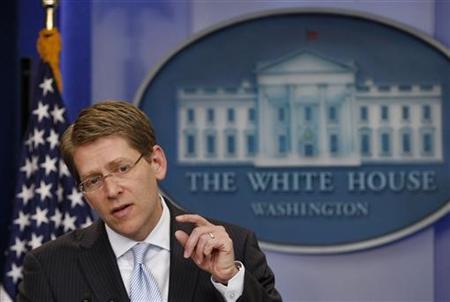 White House Press Secretary Jay Carney answers questions during the daily press briefing at the White House in Washington, May 4, 2011.   REUTERS/Jim Young