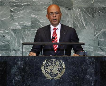 Haiti's President Michel Joseph Martelly addresses the 66th United Nations General Assembly at the U.N. headquarters, in New York, September 23, 2011.  REUTERS/Chip East