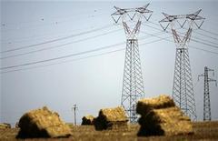 Высоковольтные линии электропередачи в Чивитавеккье, к северу от Рима, 18 июля 2007 года. Планы международной экспансии завели российский холдинг ИнтерРАО на энергорынок Италии, где компания присматривается к активам. REUTERS/Max Rossi