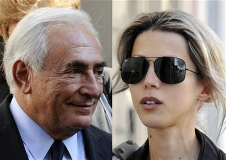 A two-way combo of former IMF chief Dominique Strauss-Kahn (L) and French writer Tristane Banon taken September 29, 2011. REUTERS/Gonzalo Fuentes