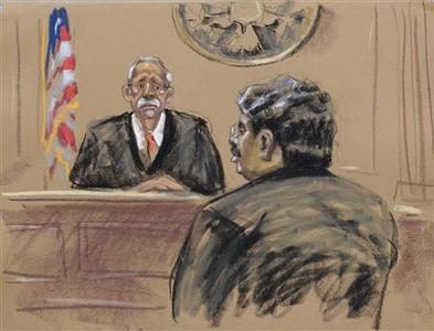 Galleon hedge fund founder Raj Rajaratnam is shown in this courtroom sketch during his sentencing in a Manhattan courtroom in New York,October 13, 2011.    REUTERS/Jane Rosenberg