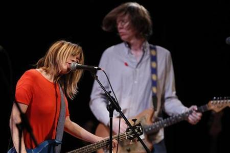 Kim Gordon (L) and Thurston Moore of the band Sonic Youth perform at the Miller Theatre at Columbia University School of the Arts' ''Concert to Benefit Japan Earthquake Relief'' in New York City March 27, 2011. REUTERS/Jessica Rinaldi