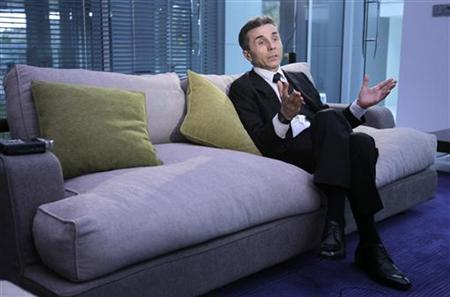 Georgian billionaire Bidzina Ivanishvili speaks during an interview with Reuters at his office in Tbilisi, October 14, 2011.   REUTERS/David Mdzinarishvili