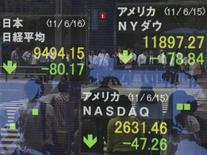 Американские фондовые индексы снизились в начале торгов понедельника после негативных комментариев министра финансов Германии, слабых данных об активности в обрабатывающем секторе США, несмотря на неплохие отчеты банков Citigroup Inc и Wells Fargo & Co. 16 июня 2011 г. REUTERS/Kim Kyung-Hoon