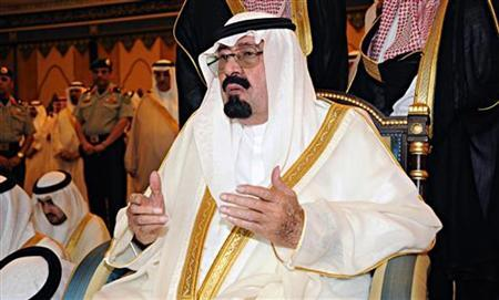 Saudi King Abdullah bin Abdulaziz Al Saud attends prayers on the first day of Eid al-Fitr which marks the end of the holy month of Ramadan, at Al-Safa Palace in Mecca August 30, 2011. REUTERS/Saudi Press Agency/Handout