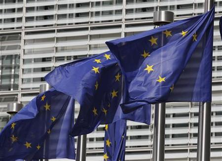 European flags are seen outside the European Commission headquarters in Brussels June 30, 2010. Belgium will take up the rotating presidency of the EU Council in July.  REUTERS/Thierry Roge