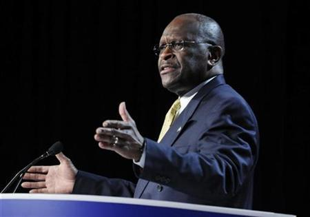 Republican presidential candidate Herman Cain delivers remarks to the Family Research Council's Values Voters Summit in Washington, October 7, 2011. REUTERS/Jonathan Ernst