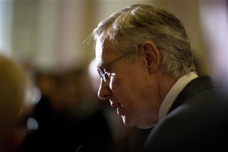 Senate Majority Leader Harry Reid speaks to the media after the U.S. Senate passed a bill allowing a rise in the debt ceiling on Capitol Hill in Washington August 2, 2011.       REUTERS/Joshua Roberts
