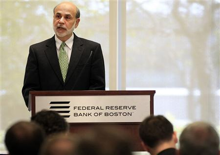 Federal Reserve Chairman Ben Bernanke speaks at the Boston Federal Reserve Bank in Boston, Massachusetts October 18, 2011.       REUTERS/Adam Hunger