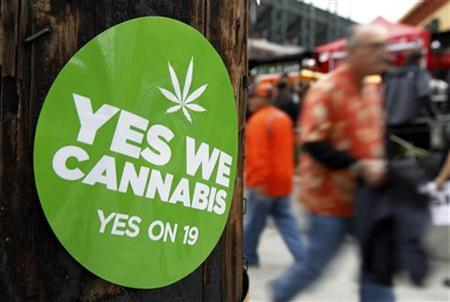 A sticker to support proposition 19, a measure to legalize marijuana in the state of California, is seen on a power pole in San Francisco, October 28, 2010.  REUTERS/Mike Blake