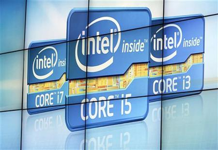 A video wall displays Intel's logos at the unveiling of its second generation Intel Core processor family during a news conference at the Consumer Electronics Show (CES) in Las Vegas January 5, 2011.  REUTERS/Rick Wilking