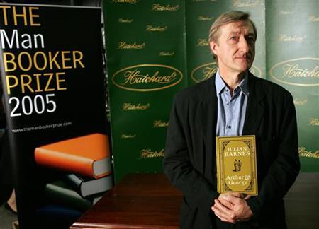 The Man Booker Prize nominated British author Julian Barnes holds his book 'Arthur and George' in London ahead of tonight's award ceremony, October 10, 2005. Barnes is favourite to win the annual literary prize of £50,000 ($88,000). REUTERS/Stephen Hird