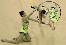Equipe brasileira de ginástica rítmica compete no Pan de Guadalajara nesta terça-feira, quando conquistou sua 3a medalha de ouro.  REUTERS/Lucy Nicholson