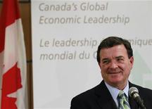 <p>Minister of Finance Jim Flaherty speaks at the Canadian Consul in New York, ahead of this week's G-8 and G-20 Summits, June 21, 2010. REUTERS/Brendan McDermid</p>