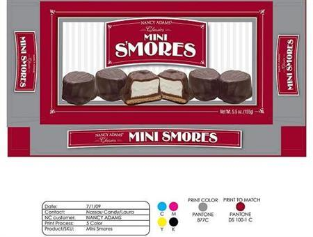 The label from a package of recalled Nancy Adams Classics Mini S'mores is seen in an undated handout image. REUTERS/U.S. Food and Drug Administration/Handout