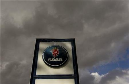 The logo of Swedish car manufacturer Saab is pictured in front of a Saab dealer in Zurich June 23, 2011.  REUTERS/Arnd Wiegmann