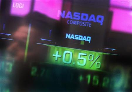 The Nasdaq Composite stock market index is seen inside their studios at Times Square in New York in this file image from April 1, 2011.  REUTERS/Shannon Stapleton
