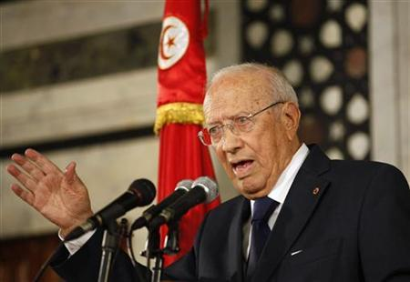 Tunisia's Prime Minister Beji Caid Sebsi speaks during an address to the nation at his office in Tunis September  6, 2011. REUTERS/Zoubeir Souissi