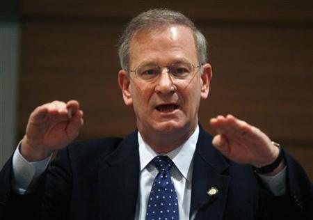 Thomas Hoenig speaks regarding ''Ending Government Bailouts'' at the American Economic Association Conference in Atlanta, Georgia in this January 5, 2010 file photo. REUTERS/Tami Chappell