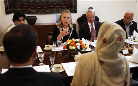 Secretary of State Hillary Clinton speaks during a meeting with Pakistani parliamentarians at the U.S. embassy in Islamabad, Pakistan October 21, 2011.  REUTERS/Kevin Lamarque