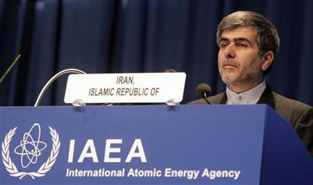 Iran's Head of Atomic Energy Organization Fereyoun Abbasi-Davani makes a speech during the 55th International Atomic Energy Agency (IAEA) General Conference at the UN headquarters in Vienna September 19, 2011. REUTERS/Herwig Prammer