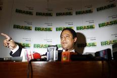 O ministro do Esporte, Orlando Silva, concede entrevista coletiva no dia 17 de outubro em Brasília. 17/10/2011 REUTERS/Ueslei Marcelino