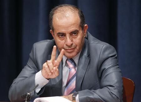 Libya's de facto Prime Minister and Foreign Minister Mahmoud Jibril gestures at a news conference in New York in this September 23, 2011 file photo. REUTERS/Chip East/Files