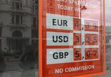 Информационное табло около обменного пункта в Варшаве, 14 сентября 2011 года. Евро снизился к доллару в ходе торгов понедельника за счет перепозиционирования и фиксации прибыли инвесторов из-за растущей неопределенности в том, удастся ли лидерам еврозоны одобрить комплексный план решения долговых проблем региона в среду.  REUTERS/Kacper Pempel