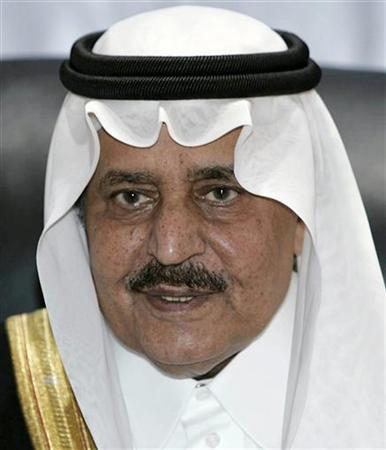 Saudi Arabia's Interior Minister Prince Nayef attends a news conference in Mecca in this December 26, 2006 file photo. Prince Nayef is now likely to become heir to the throne after the death of Crown Prince Sultan. The royal court announced the death of Prince Sultan, who was thought to be aged about 86, in New York of colon cancer at dawn on October 22, 2011.   REUTERS/Ali Jarekji/Files