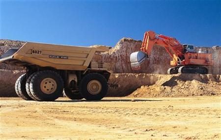 A truck is loaded at Macarthur Coal's Coppabella mine located about 760km (472 miles) northwest of Brisbane in this undated handout photograph. U REUTERS/Macarthur Coal/Handout