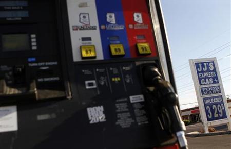 Unleaded gas price is displayed at JJ's Express Gas Plus station in Phoenix gas station in Phoenix, Arizona August 10, 2011. REUTERS/Joshua Lott